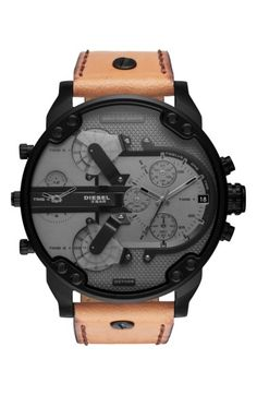 DIESEL Mr. Daddy 2.0 Chronograph Leather Strap Watch, 57mm x 66mm. #diesel #