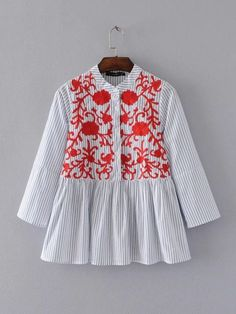 women spring summer boho ethnic embroidery striped blouse