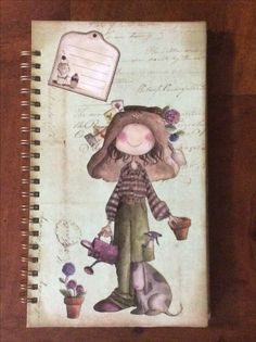CUADERNO OFELIA JARDINERA. 30x17,5cm. Arte Popular, Baby Scrapbook, Mini Books, Little Girls, Whimsical, Shabby Chic, Clip Art, Printables, Magnolias