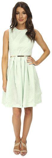 Calvin Klein Cotton Eyelet Fit & Flare Dress