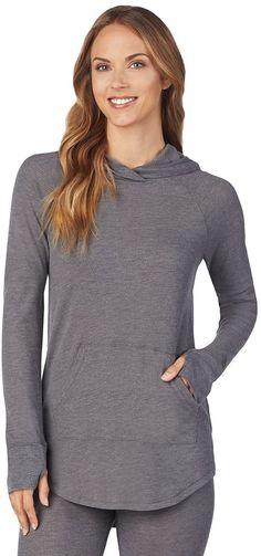 Women's Cuddl Duds Stretch Thermal Long Sleeve Hooded Tunic