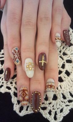 winter nail art don't like the long round nails but so cute!!