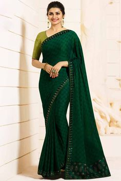 655e8a442d Wholesale saree, Dark green georgette asian festival sari, u neck Chiffon  Saree, Georgette