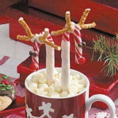Candy Cane Reindeer: Great for hot chocolate...I would use regular chocolate rather than the white.