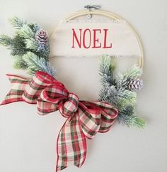 Items similar to Merry Christmas Hoop Wreath Modern Wall Decor Traditional on Etsy Wooden Christmas Crafts, Christmas Door Decorations, Christmas Signs, Homemade Christmas, Holiday Wreaths, Christmas Projects, Holiday Crafts, Christmas Holidays, Merry Christmas