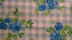 Tafelzeil blauwe roos met ruit   Via Cannella kookwinkel   www.viacannella.nl