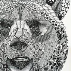 Highly detailed abstract wolf illustration Wall Mural ✓ Easy Installation ✓ 365 Days to Return ✓ Browse other patterns from this collection! Zentangle Drawings, Zentangle Patterns, Doodle Drawings, Animal Drawings, Doodle Art, Zentangle Animal, Doodles Zentangles, Zentangle Elephant, Pencil Drawings