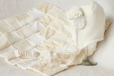 Hand Quilted and Upcycled Size -- Ivory --