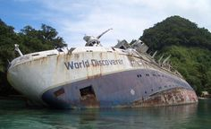 The World Discoverer was a cruise ship dedicated to explore polar regions, it was abandoned in 2000 on Nggela Island, (Solomon Islands) after hitting a reef. I want to thank Lucas E. who contacted me to have the World explorer included on AO, not only did he send me all the information he gathered but he also wrote the entry on Wikipedia.
