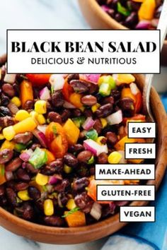 cookie salad This Southwestern black bean salad recipe is healthy and delicious! This fresh black bean salad is perfect for potlucks, parties and busy weeks. Recipe yields 4 large or up t Black Bean Salad Recipe, Bean Salad Recipes, Lunch Recipes, Vegetarian Recipes, Healthy Recipes, Black Bean Corn Salad, Veggie Recipes, Easy Recipes, Healthy Food