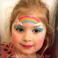 Image may contain: 1 person, child and closeup Face Painting Unicorn, Girl Face Painting, Face Painting Designs, Body Painting, Easy Face Painting, Face Painting Tutorials, Easy Paintings, Rainbow Face Paint, Animal Face Paintings