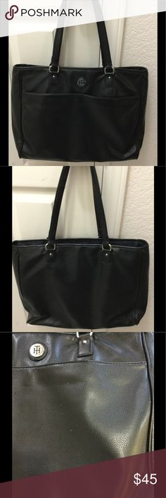 """Tommy Hilfiger Tote/Laptop bag PRICE TO SELL! Black Tote that can be used as a Tote or Laptop/tablet bag since it includes the protective pocket in the middle. Lightweight and in great shape. Does have tiny spots on the outside (see photo) strap drop is 10"""" Tommy Hilfiger Bags Totes"""