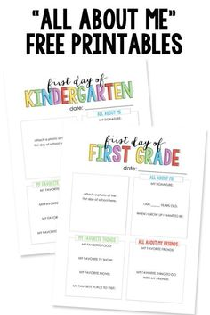 FREE All Abouut Me First Day of School Printables and FREE Back to School Printables on Frugal Coupon Living
