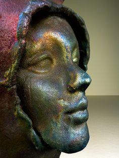 Modernist Raku Figurative Vase in Metalic Fired Glazes w/ Female Face (SOLD)