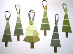 Paint Chip Christmas Trees - found at http://www.etsy.com/listing/62212910/christmas-tree-ornaments-in-earth-green