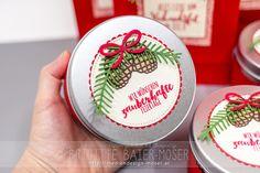 Mini-Keksdosen, weihnachtlich verschönert mit Stampin'Up!