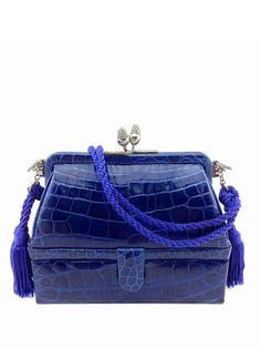 Judith Leiber Crocodile Leather 007 Clutch Bag Blue