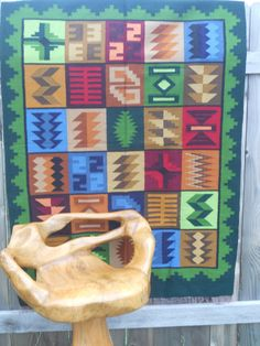 Green Tapestry Rug Inca Hand Woven Aspenandes Size: 61 inch X 45 inch Sheep Wool, Nativity, Hand Weaving, Artisan, Wall Decor, Tapestry, Rugs, Frame, Green