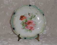 Old Leuchtenburg Germany Plate-ROSES in Shades of Pink-Shabby Home Decor-Dainty-Vintage Wall Hanging-Rose Bud-Orphaned Treasure-Y032318H