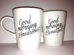"We have way too many coffee mugs, but these are just so perfect! Latte mug couple set of 2 romantic couple mug set- ""Beautiful and Handsome"" set perfect couple gift wedding gift, housewarming Gift - $36"