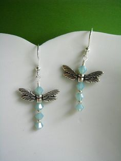 Summery Dragonfly Earrings Aqua Silver Swarovski Crystal Nature Charm Winged Insect Fantasy Jewelry Birthday Gift for Mom or Sister Custom Jewelry, Diy Jewelry, Beaded Jewelry, Jewelery, Jewelry Making, Insect Jewelry, Dragonfly Jewelry, Sea Glass Necklace, Diy Schmuck