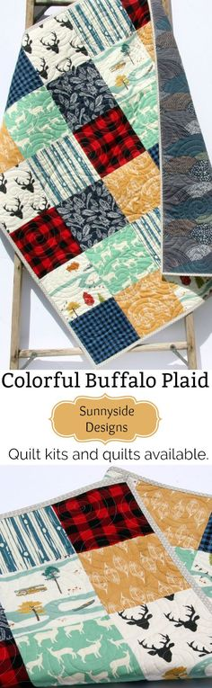 Handmade Quilts for Baby & Toddler, Lap Throws, Twin Bedding, Baby Quilt Kits, Toddler Quilt Kits, Throw Quilt Kits, Twin Quilt Kits, Masculine Designs, Gifts for Him, Boy Bedding, Buffalo Plaid, Woodland Design by Sunnyside Designs