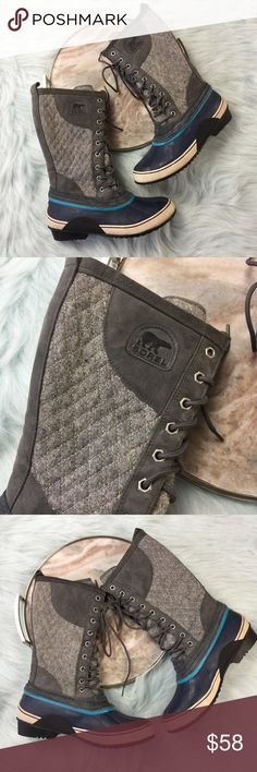 """Sorel tall waterproof quilted gray boots Sorel """"Sorelli"""" tall lace up waterproof boots in wild dove gray and enamel blue. Women's size 10, gently used with no flaws. Sorel Shoes Lace Up Boots"""