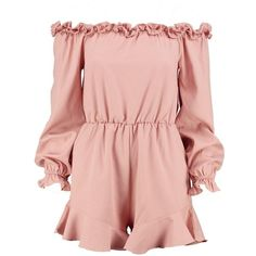 Boohoo Jayla Ruffle Off The Shoulder Playsuit ($16) ❤ liked on Polyvore featuring jumpsuits, rompers, ruffle romper, pink rompers, off shoulder romper, playsuit romper and ruffle rompers