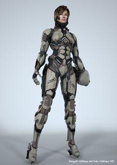 by Teruyuki and Yuka. (via ArtStation - Teruyuki and Yuka) More robots here. Armor Concept, Concept Art, Armadura Sci Fi, Medieval Combat, Science Fiction, Science Art, Character Inspiration, Character Design, Character Concept