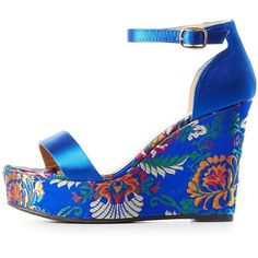 Bamboo Satin & Brocade Wedge Sandals ($14) ❤ liked on Polyvore featuring shoes, sandals, cobalt, platform sandals, platform shoes, floral wedge shoes, peep toe sandals and peep toe wedge sandals