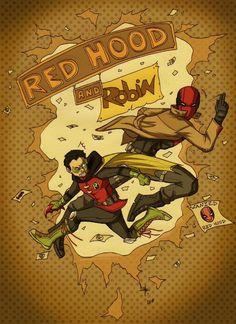 Robin and Red Hood. Damian Wayne and Jason Todd.