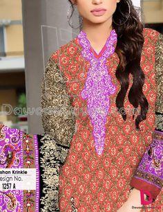 Buy Red/Brown Printed Cotton Lawn Salwar Kameez by Harma Classic Lawn Vol. 4, 2015.