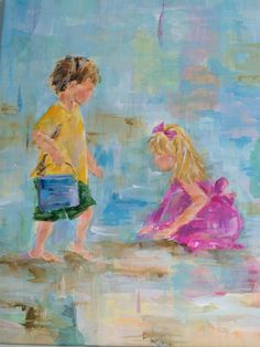 Kids on the Beach - mixed-media painting by Susan Pepe