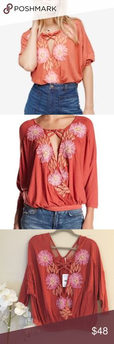 NWT Free People Gotta Love It Blouse Color Red. Size S.  Embroidery detail. Dolman style sleeves. Surplice detail. Free People Tops Blouses
