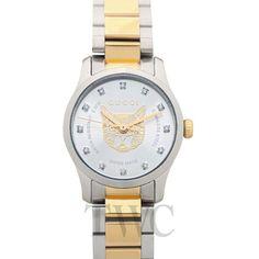 Gucci G-Timeless Quartz Diamond Silver Dial Tiger Motif Ladies Watch Gucci Watches For Men, Rolex Watches, Tokyo Shopping, Watch Companies, Quartz, Diamond, Lady, Silver, Accessories