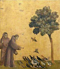 Giotto di Bondone (1267 - 1337) 'Saint Francis Preaching to the Birds'. Notable pintor, escultor y arquitecto italiano del Trecento. Considerado el primer artista en contribuir en los inicios del Renacimiento italiano y de los primeros en romper las limitaciones del arte y los conceptos medievales. Pintó temas religiosos, siendo capaz de dotarlos de una apariencia terrenal, llena de fuerza vital.