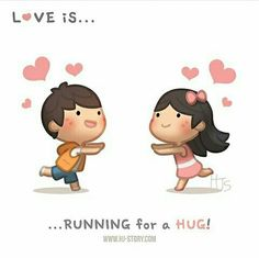HJ-Story :: Love is… running for a hug! Love Quotes Funny, Funny Quotes About Life, Funny Love, Cute Love Stories, Funny Stories, Love Story, Hj Story, Love Images, Love Pictures