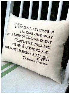 "Halloween decor: 11½ x 14½"" accent pillow with ""Sarah's Song"" lyrics from Hocus Pocus ~ paint on canvas, $43 