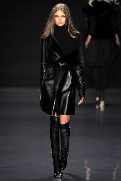 Kaufmanfranco Fall 2013 Ready-to-Wear / Boots over the knees and leather pants/skirt are a must this season.