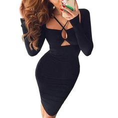 Sexy Long Sleeve Bodycon Pure Black Slim Club Party Cocktail A-Line Mini Dress