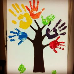 Very cute hand art idea!!  Have all of the children's handprints on it in class ( may need 2)  write names of children under/beside and year at bottom, nice room decoration.  Stephanie