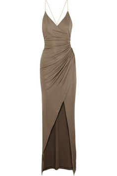 BALMAIN Embellished Gathered Stretch-Jersey Maxi Dress. #balmain #cloth #dresses