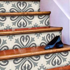 Stair Riser Stickers - Removable Stair Riser Vinyl Decals - Alhambra Pack of 6 in Thistle - Peel & Stick Stair Riser Deco Strips - long Tile Decals, Vinyl Decals, Stairs Edge, Melamine Cabinets, How To Install Wallpaper, Gloss Paint, Stair Risers, Raw Wood, Neutral Palette