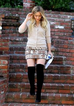 pencil skirt with boots | Her knit pencil skirt features a tribal-inspired animal jacquard print ...