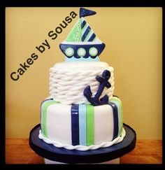 Nautical theme baby shower cake