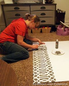 TUTORIAL: how to make your own stencil!  seriously need to do this for our coffee table!