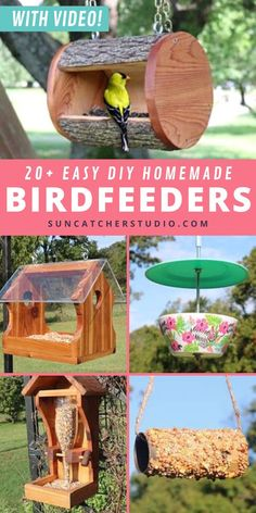 20+ Fun Bird Feeder Plans! These 20+ Easy, cheap, DIY bird feeder plans show how you can feed your feathered friends using recycled materials. Perfect for your garden or backyard. How to make a birdfeeder with a recycled wine bottle or a super simple project for kids making a bird feeder using an empty toilet paper roll. Fun projects for kids of all ages that teach kids to upcycle. Great ideas of projects for parents to do with their kids. Suet Bird Feeder, Unique Bird Feeders, Pine Cone Bird Feeder, Best Bird Feeders, Bird Seed Feeders, Bird House Feeder, Bird Feeders For Kids To Make, Make A Bird Feeder, Bird Feeder Plans
