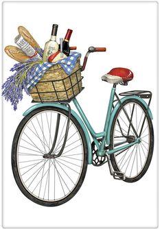 Blue Vintage Wine Picnic Bicycle 100% Cotton Flour Sack Dish Towel Tea Towel