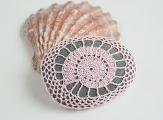 Crochet Lace Stone // Rustic Beach // Shell Pink // Wedding Decor // Ringbearer Pillow // Gift for the home // Gift for her. $30.00, via Etsy.