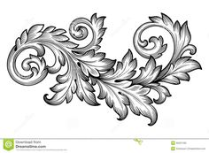 Vintage baroque frame scroll ornament engraving border floral retro pattern antique style acanthus foliage swirl decorative design element filigree ...